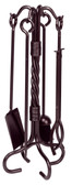 "5 Piece Bronze Wrought Iron Twist Fireset 30""H"