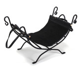 "Black Wrought Iron Log Holder w Suede & Leather Trim Carrier 26.75""L x 14""W x 17.5""H"