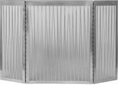 "3 Fold Satin Nickle Liner Decorative Screen 32""H x 50""W"