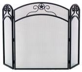 "Black Wrought Iron 3 Fold Arch Screen 32""H x 52""W"