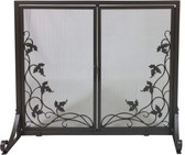 "Bronze Wrought Iron Panel Screen w Vine Design and Operable Doors 31""H x 38""W"