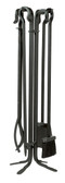 """5 Piece Black Wrought Iron .75"""" Thick Fireset 36""""H"""