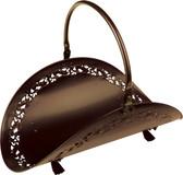 "Bronze Wood Basket w Filigree Body 21""L"