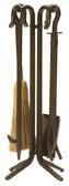 "5 Piece Bronze Wrought Iron .75"" Thick Fireset 27.25""H"