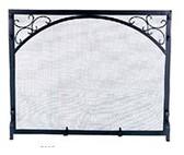 "Black Wrought Iron Panel Screen w Scroll Design 31""H x 39""W"