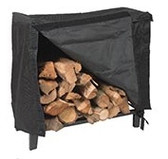 "Black Steel Log Holder Cover 98""L"
