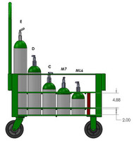 "Heavy Duty Oxygen Cylinder Cart For 24 D or E (4.38"" DIA) Style Oxygen Cylinders (1080SHD)"