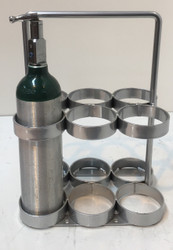"Oxygen Cylinder Rack With Handle Holds Six M6 (3.20""DIA) Oxygen Cylinders (2096)"