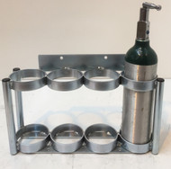 "Inline Oxygen Cylinder Wall Mount Rack for Four M6 (3.20"" DIA) Oxygen Cylinders (2120-4)"