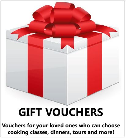 Gift Vouchers - Great Presents for your loved ones - Cooking Classes, Dinners, Tours, Spices