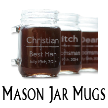 Glass Blasted Wedding Glassware - Mason Jar Mugs