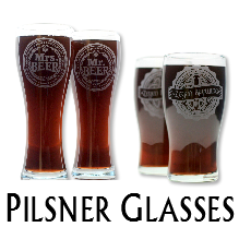 Glass Blasted Wedding Glassware - Pilsner Glasses