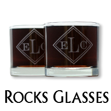 Glass Blasted Wedding Glassware - Rocks Glasses