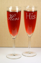 His & Hers Engraved on Tapered Wedding Champagne Flutes (Set of 2)