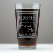 Engraved Groomsmen Old School Last Name Themed Pint Glasses (Set of 3 or 4)
