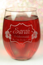Stemless Wine Glasses Engraved with Personalized Wedding Hibiscus Design for Bridal Party Close Up