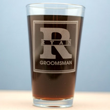 Engraved Pint Glasses Personalized with Groomsmen Large Initial and Name Theme (Set of 6 or 8)