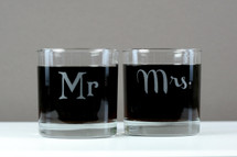 Engraved Rocks Glasses with Classic Mr & Mrs Theme (Set of 2)