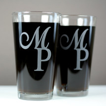 Engraved Newlywed Pint Glasses Featuring First Letter From Bride and Groom Names (Set of 2)