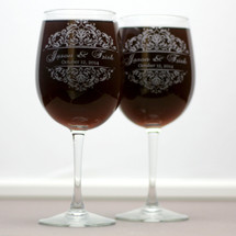 Engraved Custom Wedding Wine Glasses with Classic Baroque Theme (Set of 2)