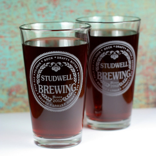 Engraved Newlywed Wedding Pint Glasses with Brewing Theme (Set of 2)