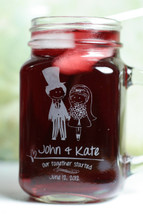 Engraved Personalized Wedding Mason Jar Mugs with Ballerina Bride and Groom With Top Hat (Set of 2)