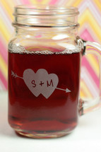 Engraved Wedding Engagement  Bride & Groom Initials in Double Heart Personalized Mason Jar Mugs (Set of 2)
