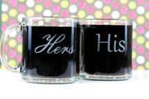 Glass Coffee Mugs Engraved with His & Her's (Set of 2)
