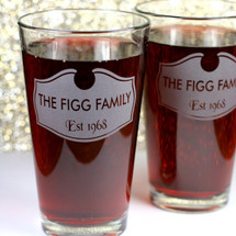 Engraved Newlywed Family Shield Pint Glasses (Set of 2)