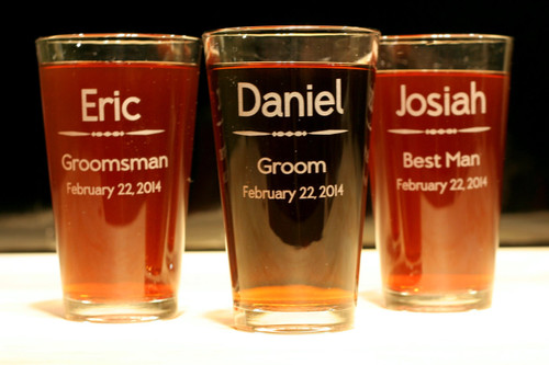pint glasses engraved and groomsmen wedding party gift set of 3