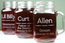 Engraved Mason Jar Mugs with Custom Groomsmen Classically Simple Design (Set of 3)