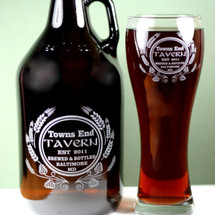 Engraved Personalized Growler & One 21oz Pilsner Set with Home Brew Tavern Hops and Wheat Design