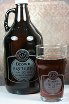 Engraved 64oz Growler & 2 Nonic Glass Set with Classy Simple Label Design