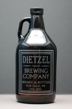 Engraved 64oz Growler with Personalized Old School Brewing Label Design