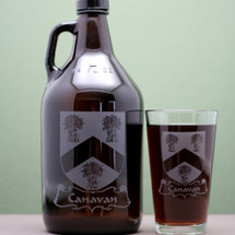 Engraved 64oz Growler and Two Pint Glass Set with Custom Home Brew Family Crest Design