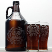 Engraved 64oz Growler & 2 Pilsner Glass Set with Personalized Modern Hops and Wheat Design