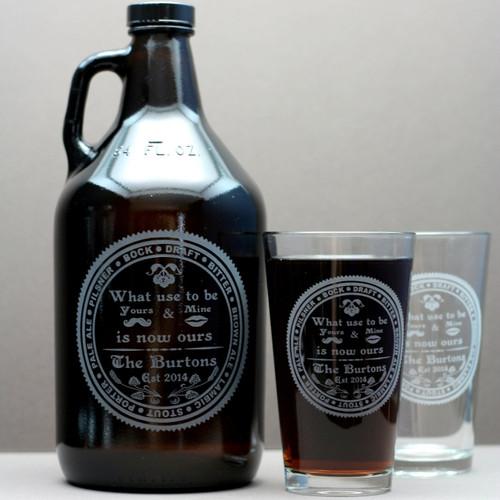 Engraved Big Beer Glass