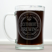 Engraved Beer Stein or Mug with Custom Brewing Beer Names (Set of 2)