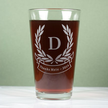 Engraved Personalized Initials with Laurel leaves and banner Design Pint Glass