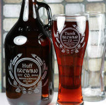 Engraved & Personalized 64oz Growler & 2 Large Pilsner Set with Hops and Wheat