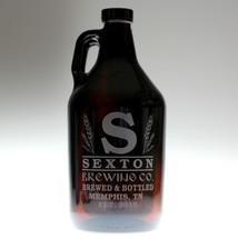 Large Initial & Wheat Personalized 64oz Beer Growler