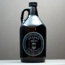 Engraved 64oz Growler Engraved with Beards and Brews Design
