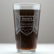 Engraved Pint Glasses with Baseball Personalized Brewing Company Theme (Set of 2)