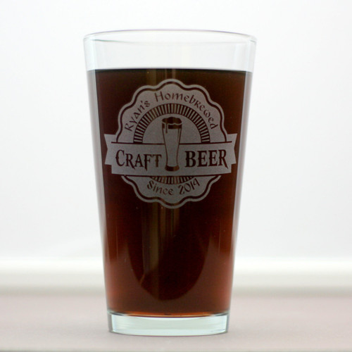 Custom home brew pint glasses personalized with craft for Home brew craft beer