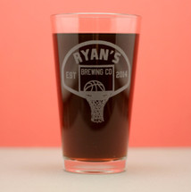 Engraved Pint Glasses with Basketball Personalized Brewing Company Theme (Set of 2)