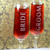 Engraved Modern Champagne Flutes with Contempary Bride and Groom (Set of 2)