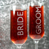 Engraved Modern Champagne Flutes with Contemporary Bride and Groom (Set of 2)