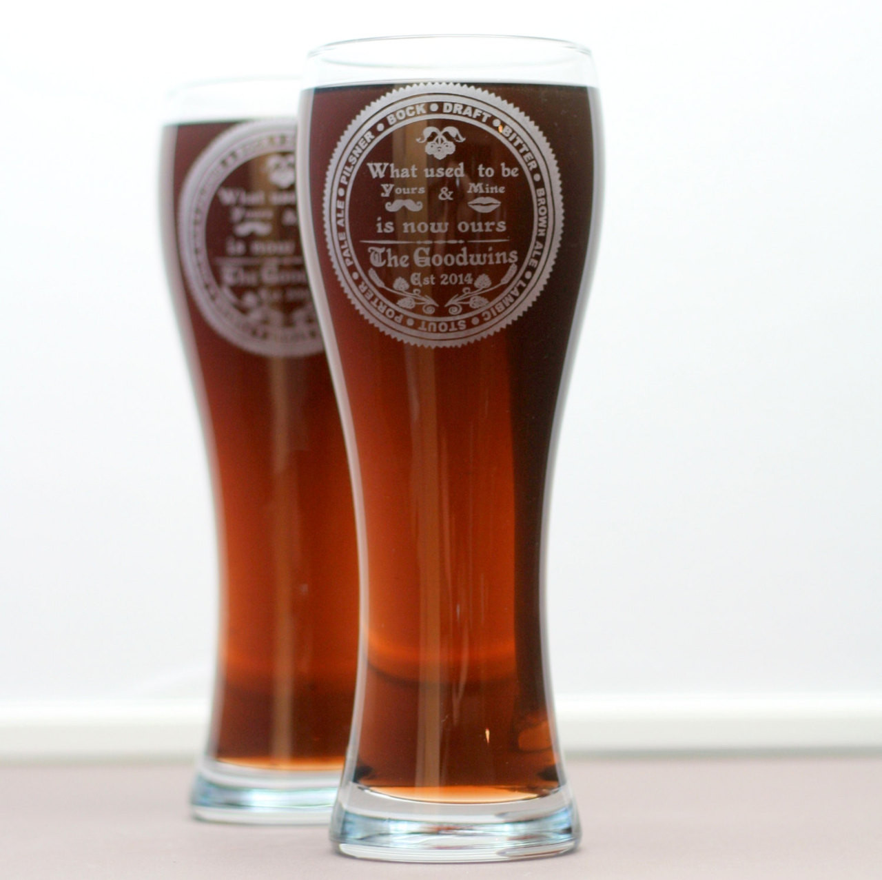 yours and mine is ours personalized pilsners set of 2 weizen