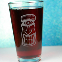 Engraved Pint Glass with Cyclopse Tiki Design