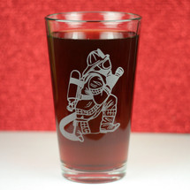 Engraved Pint Glass with Etched Firefighter